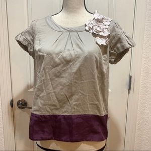 Anthropologie Floreat Embellished Top Small Tee